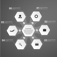 Abstract hexagon glass infographics template. Design element.