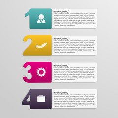 Creative colorful numbered infographic. Design element.