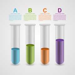 Infographic on science and medicine in the form of test tubes.