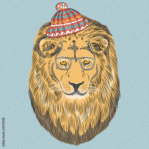 vector serious cartoon hipster Lion - 67171508