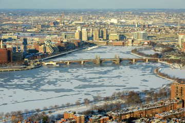 Boston  Back Bay, Charles River and Longfellow Bridge in winter