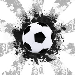 Soccer ball on the background of beautiful blots