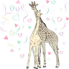 Vector Funny couple in love giraffes