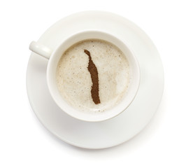 Cup of coffee with foam and powder in the shape of Togo.(series)
