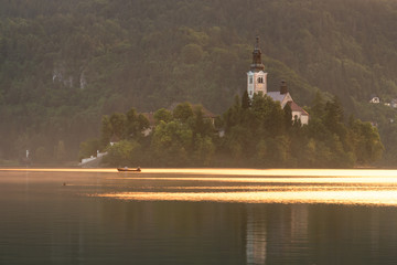 Picturesque church on Bled island, lake Bled, Slovenia