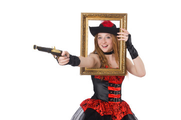 Woman pirate with gun and picture frame