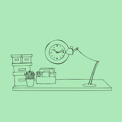 illustrated office desk