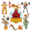 Circus vintage colored icons set - 67172929