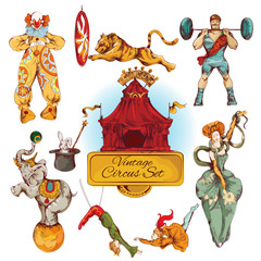 Circus vintage colored icons set