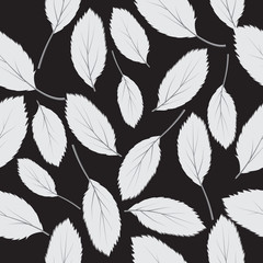 Vector illustration  seamless pattern grey leaves