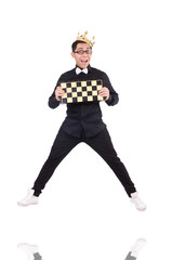 Funny chess player isolated on white