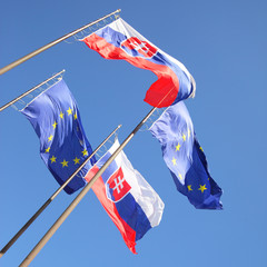 Flags of EU and Slovakia