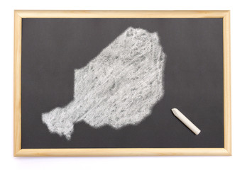 Blackboard with a chalk and the shape of Niger drawn onto. (seri
