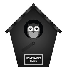 Monochrome birdhouse isolated on white background