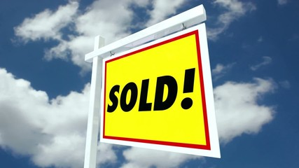 Real Estate House for Sale Sign Flipping to Sold Home