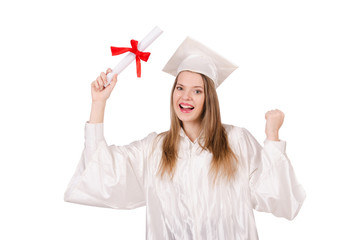 Graduate girl solated on white