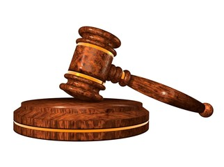 Gavel. Auction hammer. Wooden gavel on a stand. 3d illustration.