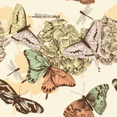 Seamless vector wallpaper pattern with butterflies in vintage st
