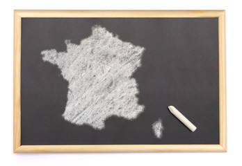 Blackboard with a chalk and the shape of France drawn onto. (ser
