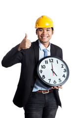 Asian engineer man thumbs up  with a clock