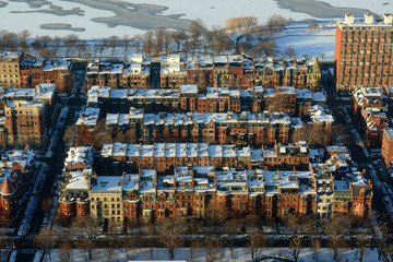 Boston Back Bay apartments aerial view in winter
