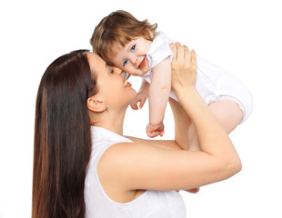 Portrait happy mom and baby on a white background, family, tende
