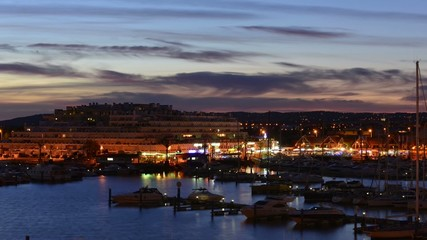 Sundown over marina in South of Portugal