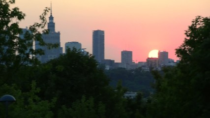 City of Warsaw downtown skyline at sunset in Poland.