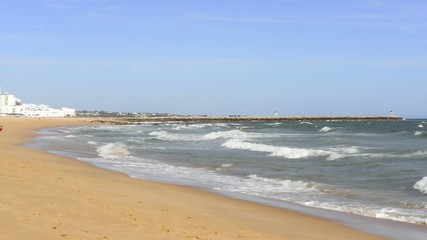 Clean beach in Vilamoura resort in Portugal