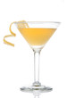 Yellow banana cocktail in martini glass with lemon twist - 67175121