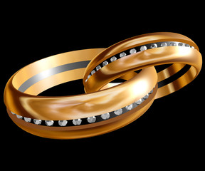 Two gold rings on a dark background. 3d illustration.