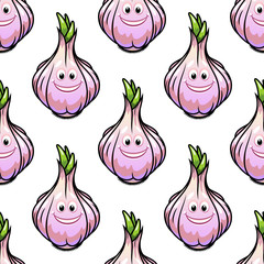 Healthy fresh garlic seamless pattern