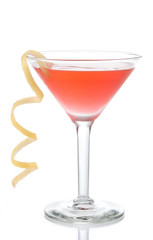 Cosmopolitan martini cocktail with vodka red cranberry juice