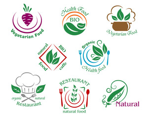 Assorted restaurant and vegetarian food symbols or signs