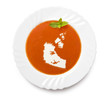 Plate tomato soup with cream in the shape of Northwest Territori