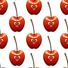 Seamless background pattern of ripe red cherries
