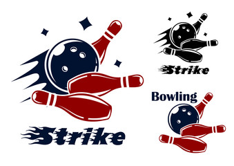 Bowling icons and symbols