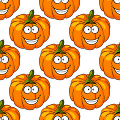 Happy smiling fresh pumpkin seamless pattern