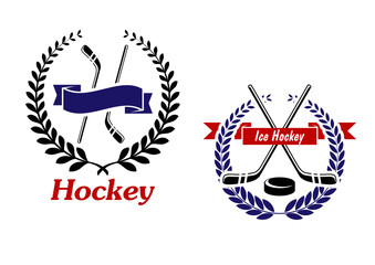 Hockey and Ice Hockey emblems or symbols