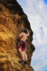 Man climbing on rock