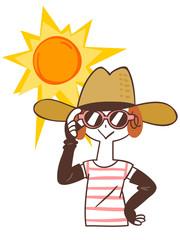 日焼け対策をする女性