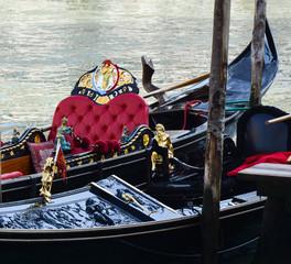 View at gondolas at Venice canal