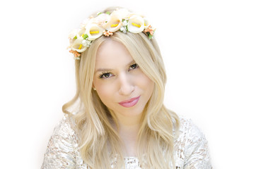 Beautiful Blonde wearing floral headband