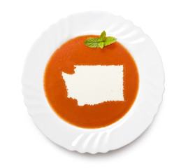 Plate tomato soup with cream in the shape of Washington.(series)
