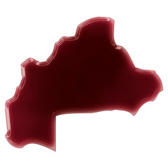 A pool of blood (or wine) that formed the shape of Burkina Faso.