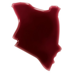 A pool of blood (or wine) that formed the shape of Kenya. (serie