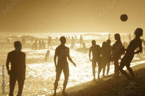 Brazilians Playing Beach Football Altinho Keepy Uppy Soccer Rio