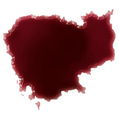 A pool of blood (or wine) that formed the shape of Cambodia. (se