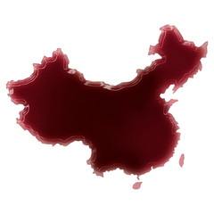 A pool of blood (or wine) that formed the shape of China. (serie