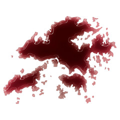 A pool of blood (or wine) that formed the shape of Hong Kong. (s